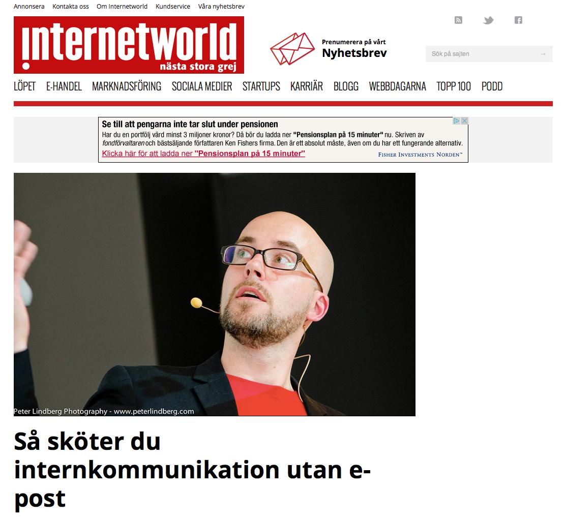 Peter Lindberg bevakade konferensen Intranätverk